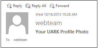 Screenshot example of profile image displayed in Outlook