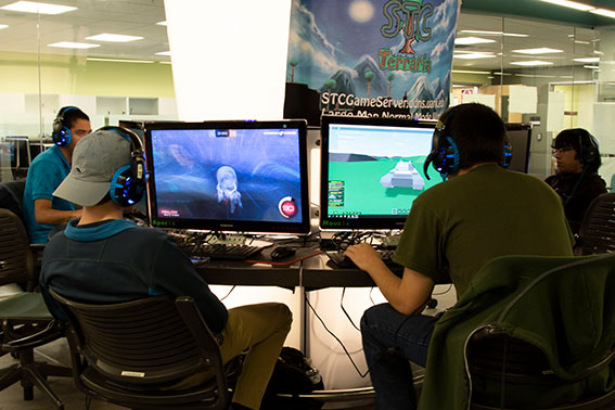 Students playing in the gaming area